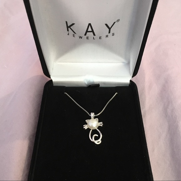 346b642c4 Kay Jewelers Jewelry | Sterling Silver Pearl Cat Necklace | Poshmark